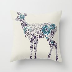 Flower Deer Throw Pillow
