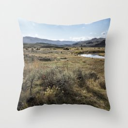 Waiting for Wolves in Lamar Valley - Yellowstone Throw Pillow