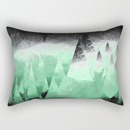 Modern Abstract Green Mountain Design Rectangular Pillow