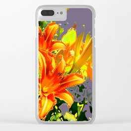 Serene Orange Daylilies Grey-Brown Abstract Clear iPhone Case