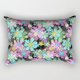 Floral pattern on a dark background. Rectangular Pillow