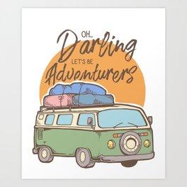 Road Trip Camping Adventure Campfire Print T-Shirt - Design Illustration Print Artwork Gift Idea Tee Art Print