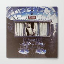 White Cat in a Vintage Airstream Window Metal Print