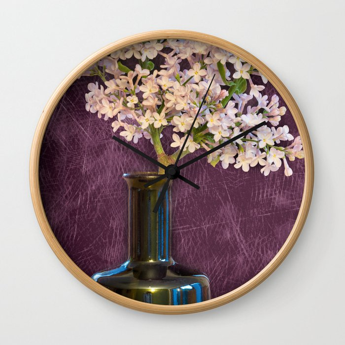 Lilac and Bottle Wall Clock