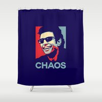 jurassic park Shower Curtains featuring 'Chaos' Ian Malcolm (Jurassic Park) by Tabner's