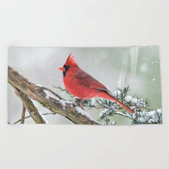 Cardinal Holding Steady in the Storm Beach Towel