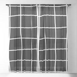 Large Hand Drawn Grid (white/black) Sheer Curtain