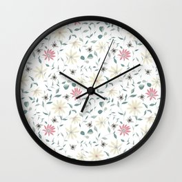 Floral Bee Print Wall Clock