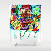 rug Shower Curtains featuring rug by liisa kruusmägi