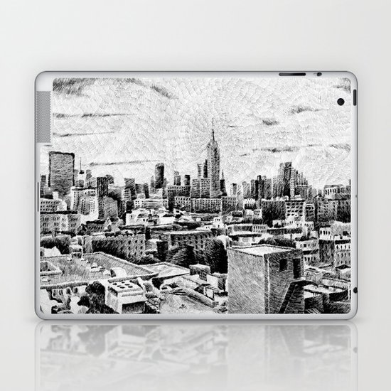 New York City - Fingerprint - Black ink Laptop & iPad Skin