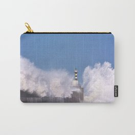 Stormy wave over lighthouse Carry-All Pouch