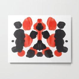 Red Orange & Black Ink Blot Diagram Metal Print