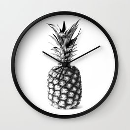 Pineapple Black and White Photograph Wall Clock