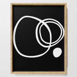 Black and White Circles Abstract Modern Serving Tray