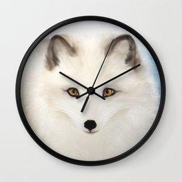 Inquisitive Arctic Fox Wall Clock