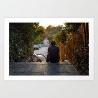 Echo Park staircase  Art Print