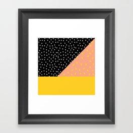 Peach Fuzz Black Polka Dot /// www.pencilmeinstationery.com Framed Art Print