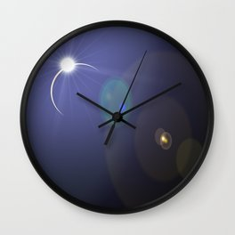 blue eclipse lens flare Wall Clock