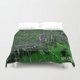New Orleans Louisiana 1932 vintage old beautiful map Duvet Cover