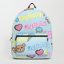 CRY BABY PRINT- PASTEL BLUE Backpack