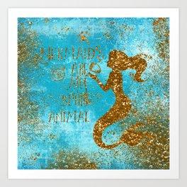 Glitter Typography-Mermaids Are My Favorite Animal Art Print