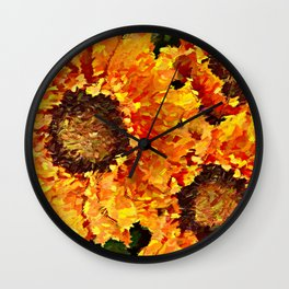 Sunflowers Abstracted Wall Clock