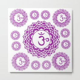"PURPLE CROWN  PSYCHIC CHAKRAS  WHEEL ""KNOW"" Metal Print"