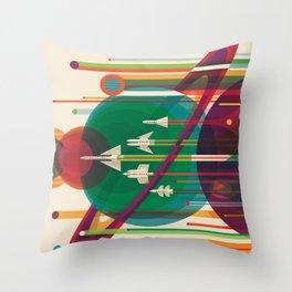 Old Sign NASA / The grand tour Throw Pillow