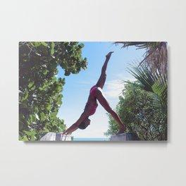 WOMAN - YOGA - POSE - BATHING - SUITE Metal Print