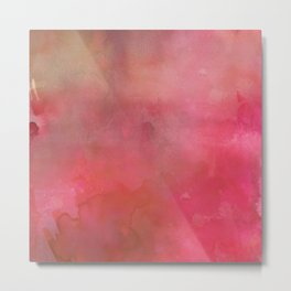 Abstract pink coral hand painted watercolor paint Metal Print