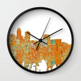 Des Moines,Iowa Skyline -Rust Wall Clock