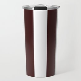 Vertical Stripes - White and Dark Sienna Brown Travel Mug