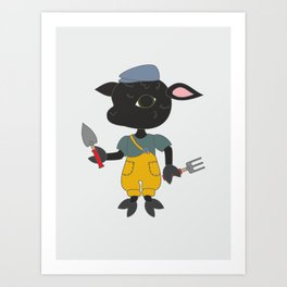 Cute cartoon sheep with garden tools. Animal character. Art Print