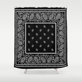 Classic Black Bandana Shower Curtain
