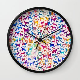 Fun Colorful Dog breeds Silhouettes Pattern Wall Clock