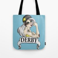 roller derby Tote Bags featuring Roller Derby  by Hungry Designs