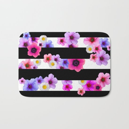 Flowers and Stripes 3 Bath Mat