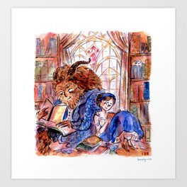 Beauty and the Beast's Library Art Print