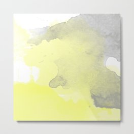 Yellow and Gray Ombre Watercolor  Metal Print