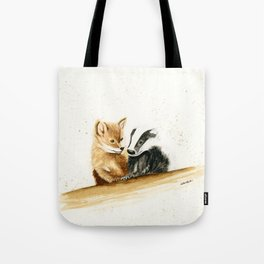 Friends (Fox and Badger) - animal watercolor painting Tote Bag