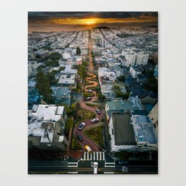 Sunrise at Lombard Street Canvas Print
