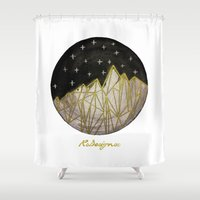 water colour Shower Curtains featuring Circle Crystal Mountain Water Colour by RsDesigns