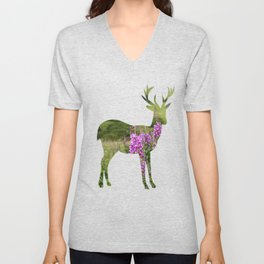Fireweed on a Mountain Photography Print Unisex V-Neck