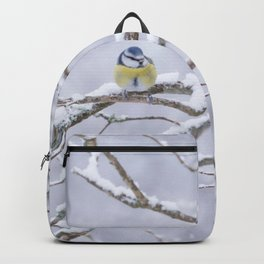 Blue Tit On A Snowy Branch Winter Scene #decor #society6 Backpack