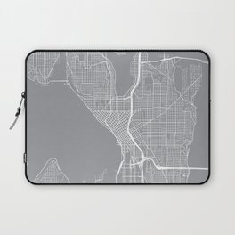Seattle Map, Washington USA - Pewter Laptop Sleeve