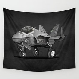 F35 Fighter Jet Airplane - F-35C Lightning II Joint Strike Fighter Cartoon Wall Tapestry