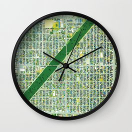 Aerial of Tree Row in Sapporo, Japan Wall Clock