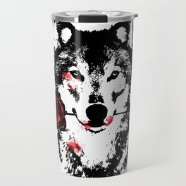 Wolf blood stained, holding a red rose. Travel Mug