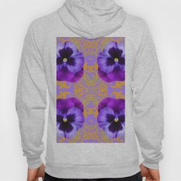 FOUR  PURPLE PANSIES ON LILAC  BROCADE GARDEN Hoody