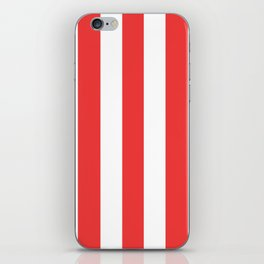 Vivaldi Red - solid color - white vertical lines pattern iPhone Skin